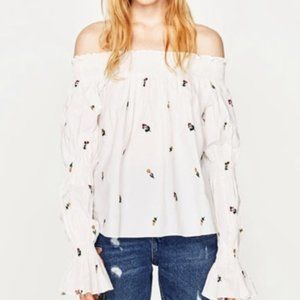 Zara Off The Shoulder Blouse Embroidered Flowers